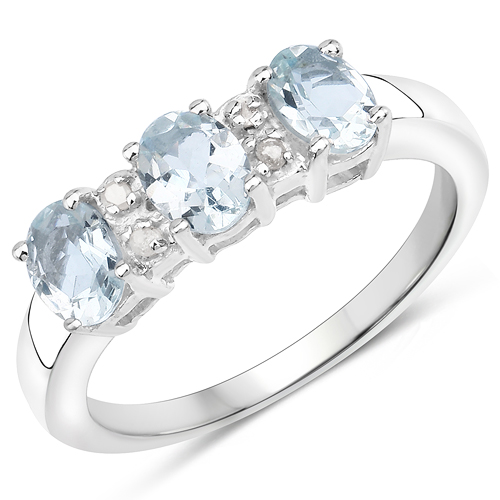 Rings-0.90 Carat Genuine Aquamarine and White Diamond .925 Sterling Silver Ring