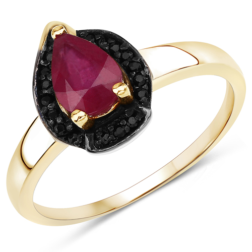 0.94 Carat Glass Filled Ruby and Black Spinel .925 Sterling Silver Ring