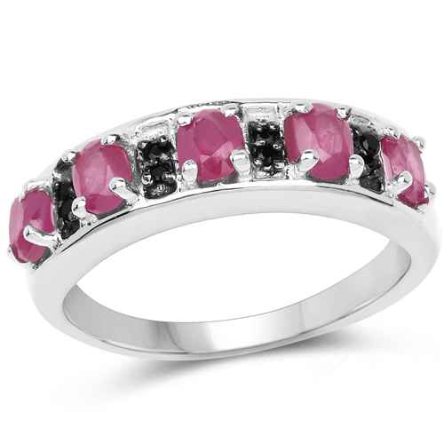 Ruby-1.16 Carat Genuine Ruby and Black Spinel .925 Sterling Silver Ring