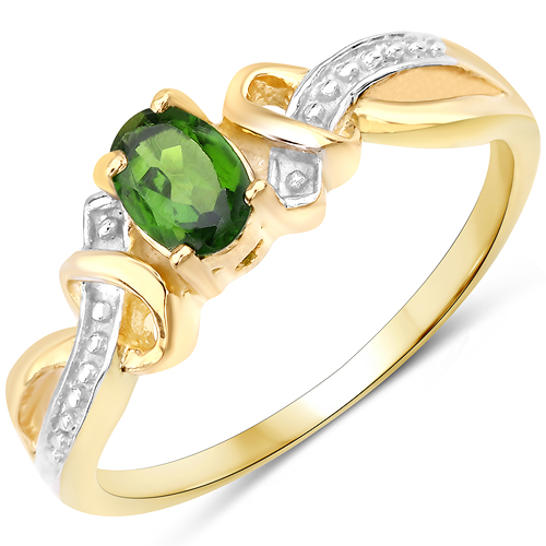 Rings-14K Yellow Gold Plated 0.43 Carat Genuine Chrome Diopside .925 Sterling Silver Ring