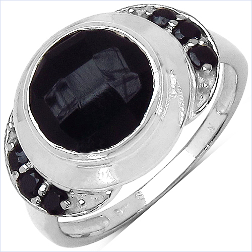 Rings-2.64 Carat Genuine Black Onyx & Black Spinel .925 Sterling Silver Ring