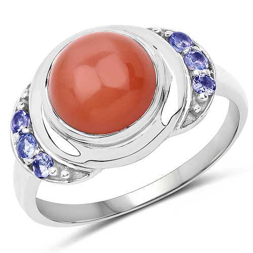 Rings-3.01 Carat Genuine Peach Moonstone and Tanzanite .925 Sterling Silver Ring