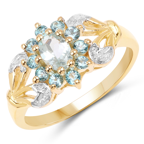 Rings-14K Yellow Gold Plated 0.83 Carat Genuine Aquamarine & London Blue Topaz .925 Sterling Silver Ring