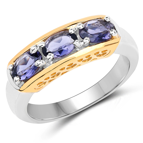 Rings-Two Tone Plated 1.23 Carat Genuine Iolite .925 Sterling Silver Ring
