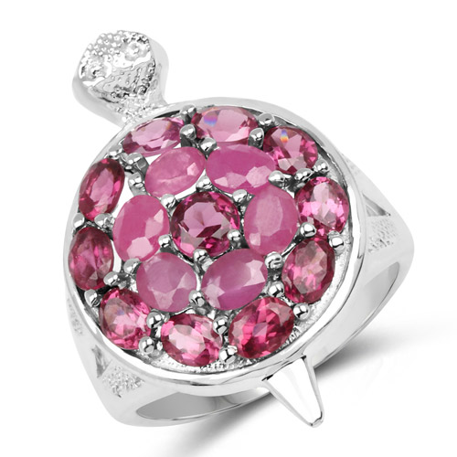 Ruby-3.60 Carat Genuine Ruby and Rhodolite .925 Sterling Silver Ring
