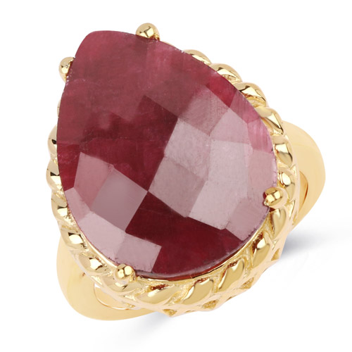 Ruby-14K Yellow Gold Plated 18.30 Carat Genuine Ruby .925 Sterling Silver Ring