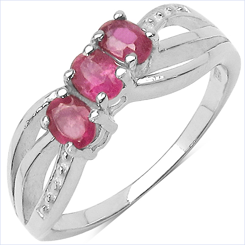 Ruby-0.66 Carat Genuine Ruby .925 Sterling Silver Ring