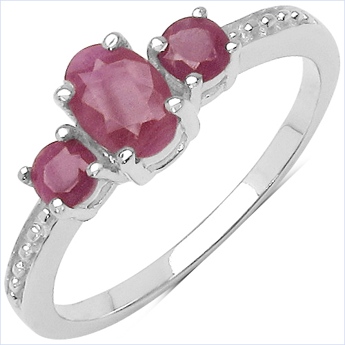 Ruby-0.79 Carat Genuine Ruby .925 Sterling Silver Ring