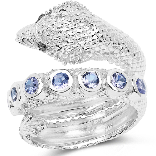 Tanzanite-0.70 Carat Genuine Tanzanite .925 Sterling Silver Ring