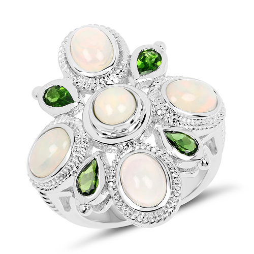 Opal-2.97 Carat Genuine Ethiopian Opal And Chrome Diopside .925 Sterling Silver Ring