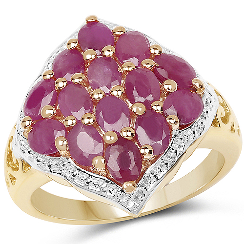 Ruby-14K Yellow Gold Plated 3.08 Carat Genuine Ruby .925 Sterling Silver Ring