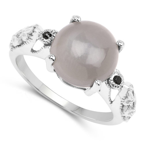 3.97 Carat Genuine Grey Moonstone & Black Spinel .925 Sterling Silver Ring