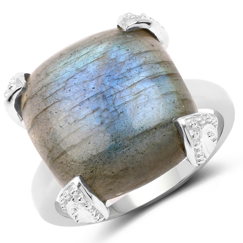 Rings-16.95 Carat Genuine Labradorite .925 Sterling Silver Ring
