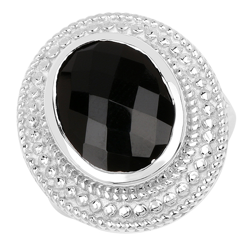 Rings-6.60 Carat Genuine Black Onyx .925 Sterling Silver Ring