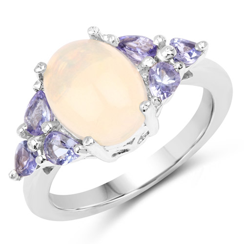 Opal-2.60 Carat Genuine Opal and Tanzanite .925 Sterling Silver Ring