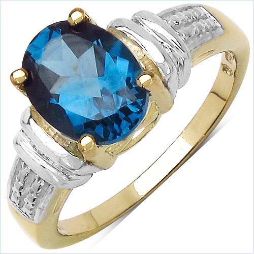 Rings-14K Yellow Gold Plated 2.50 Carat Genuine London Blue Topaz .925 Sterling Silver Ring