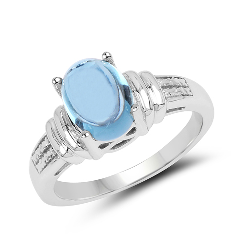 Rings-2.10 Carat Genuine Swiss Blue Topaz .925 Sterling Silver Ring
