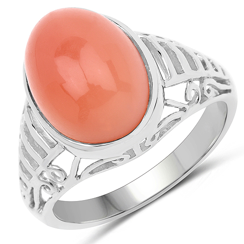 Rings-6.00 Carat Genuine Peach Moonstone .925 Sterling Silver Ring