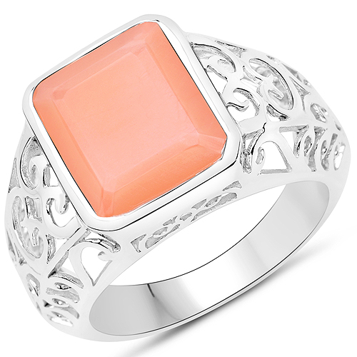 Rings-5.75 Carat Genuine Peach Moonstone .925 Sterling Silver Ring