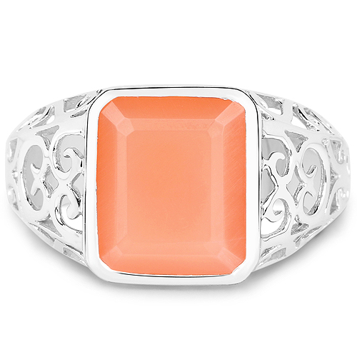 5.75 Carat Genuine Peach Moonstone .925 Sterling Silver Ring