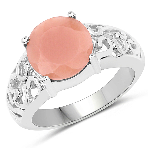 Rings-3.30 Carat Genuine Peach Moonstone .925 Sterling Silver Ring