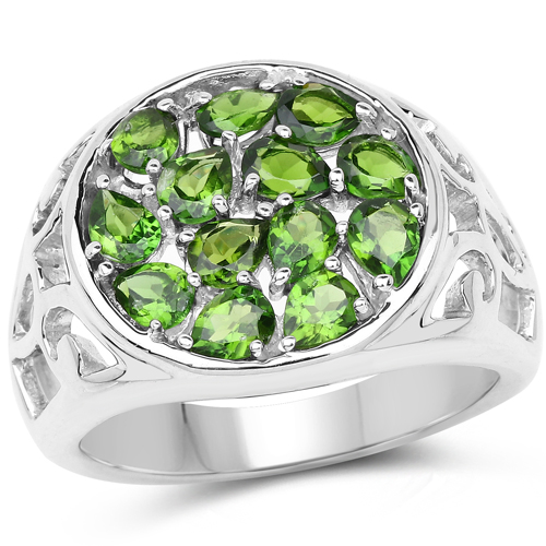 Rings-2.21 Carat Genuine Chrome Diopside .925 Sterling Silver Ring