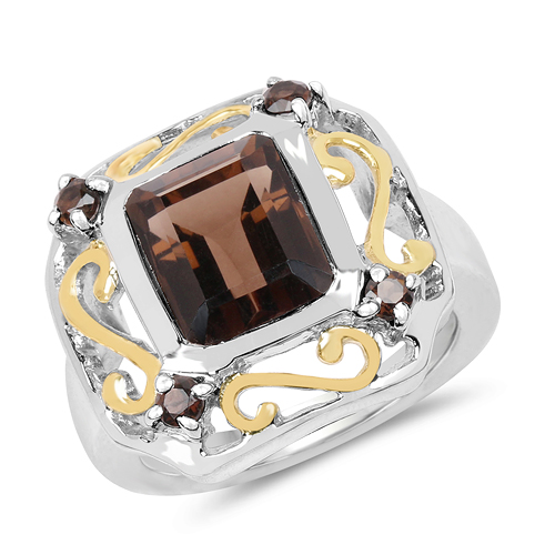 Rings-Two Tone Plated 3.33 Carat Genuine Smoky Quartz .925 Sterling Silver Ring