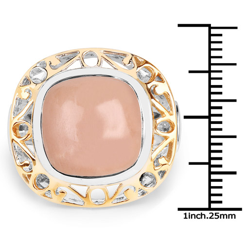 Two Tone Plated 12.80 Carat Genuine Moonstone .925 Sterling Silver Ring