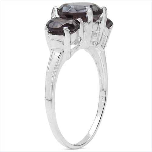 3.38 Carat Genuine Smoky Quartz .925 Sterling Silver Ring