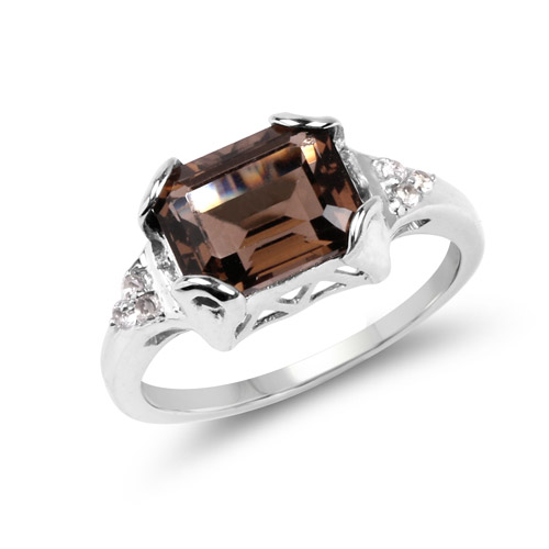 Rings-2.24 Carat Genuine Smoky Quartz and White Topaz .925 Sterling Silver Ring
