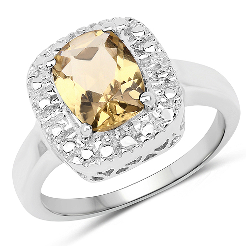 Rings-1.90 Carat Genuine Champagne Quartz .925 Sterling Silver Ring