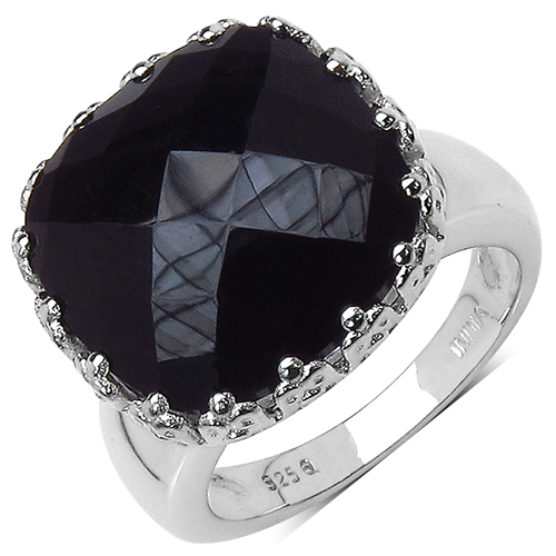 Rings-11.34 Carat Genuine Black Onyx .925 Sterling Silver Ring