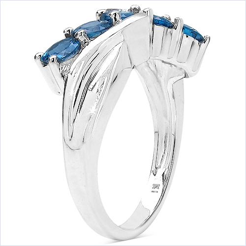 1.75 Carat Genuine London Blue Topaz .925 Sterling Silver Ring