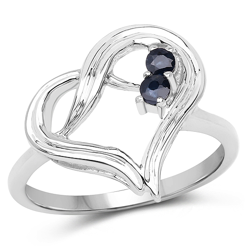 Sapphire-0.15 Carat Genuine Blue Sapphire .925 Sterling Silver Ring