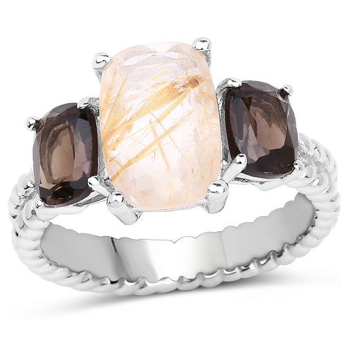 Rings-5.75 Carat Genuine Golden Rutile and Smoky Quartz .925 Sterling Silver Ring