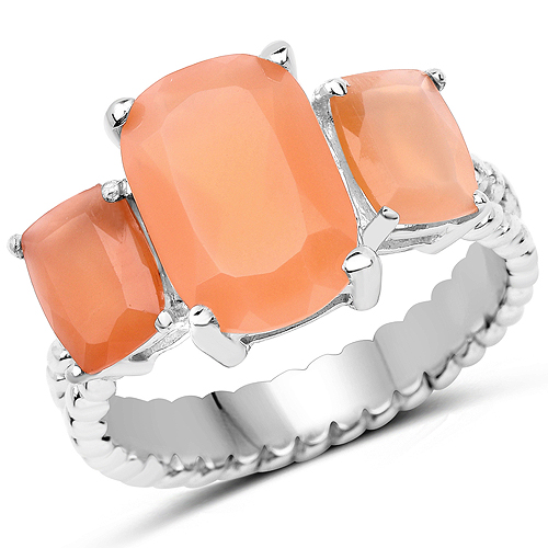 Rings-4.90 Carat Genuine Peach Moonstone .925 Sterling Silver Ring