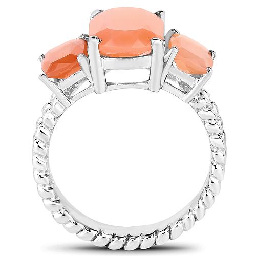 4.90 Carat Genuine Peach Moonstone .925 Sterling Silver Ring