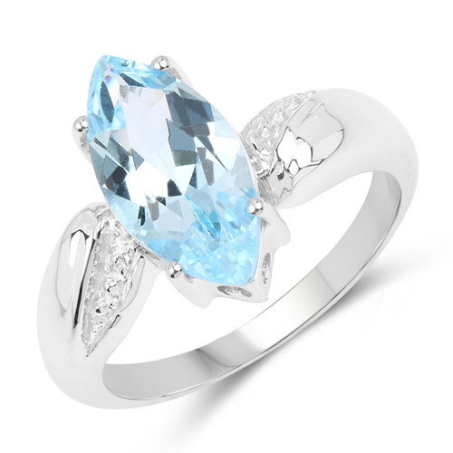 Rings-2.50 Carat Genuine Blue Topaz .925 Sterling Silver Ring