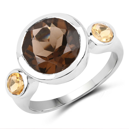 Rings-3.56 Carat Genuine Smoky Quartz and Citrine .925 Sterling Silver Ring