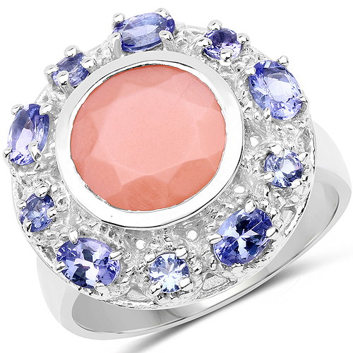 Rings-4.50 Carat Genuine Peach Moonstone and Tanzanite .925 Sterling Silver Ring