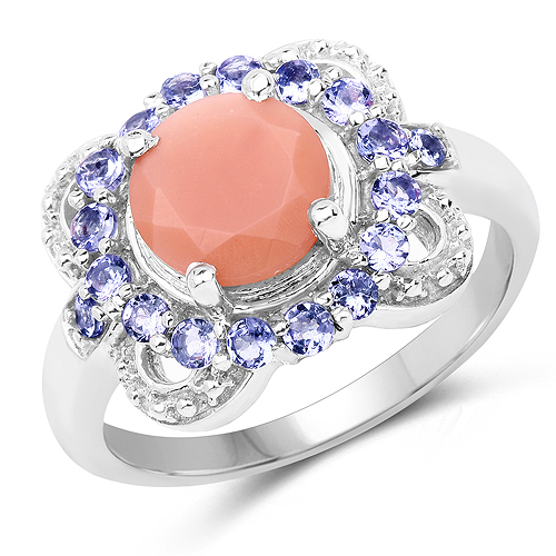 Rings-2.87 Carat Genuine Peach Moonstone and Tanzanite .925 Sterling Silver Ring