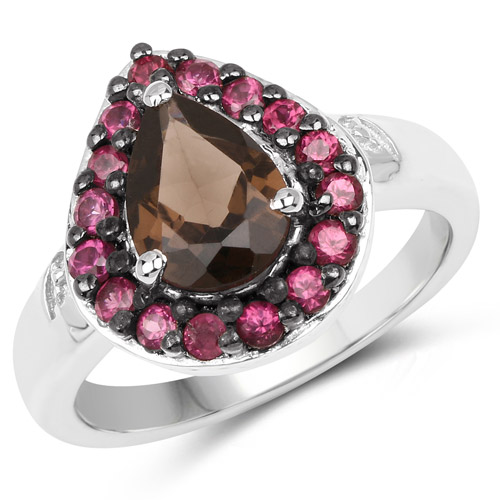 Rings-2.47 Carat Genuine Smoky Quartz and Rhodolite .925 Sterling Silver Ring