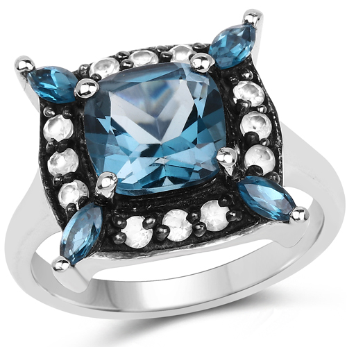 Rings-3.24 Carat Genuine London Blue Topaz and White Topaz .925 Sterling Silver Ring