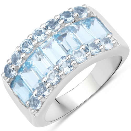 Rings-3.57 Carat Genuine Blue Topaz .925 Sterling Silver Ring