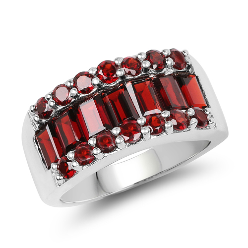 Garnet-3.22 Carat Genuine Garnet .925 Sterling Silver Ring