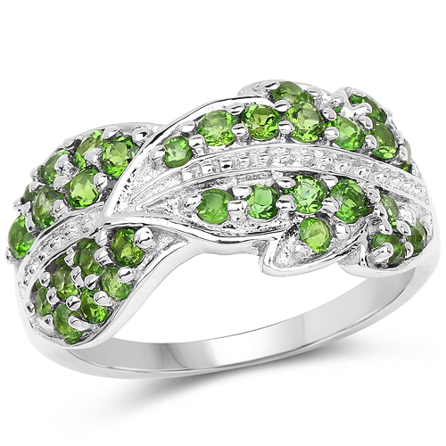 Rings-1.11 Carat Genuine Chrome Diopside .925 Sterling Silver Ring