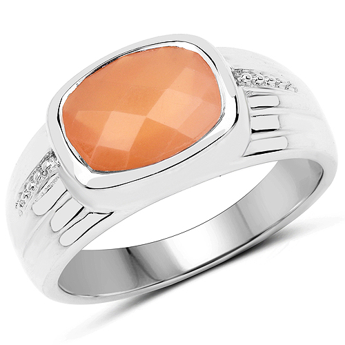 Rings-2.60 Carat Genuine Peach Moonstone .925 Sterling Silver Ring