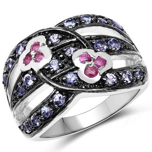 Ruby-1.00 Carat Genuine Ruby and Tanzanite .925 Sterling Silver Ring