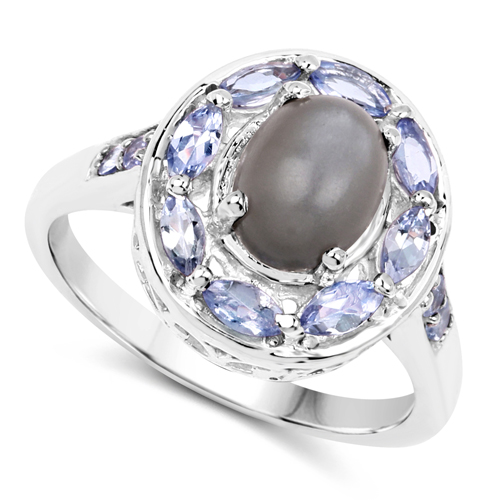 2.35 Carat Genuine Grey Moonstone & Tanzanite .925 Sterling Silver Ring