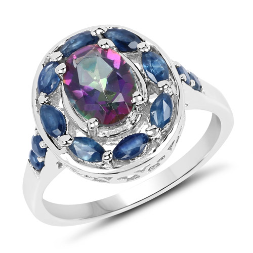 Mystic Topaz-2.46 Carat Genuine Quartz Mystic and Blue Sapphire .925 Sterling Silver Ring